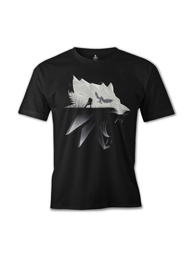 Lord Tshirt Witcher - Wolf Siyah Erkek Tshirt Siyah